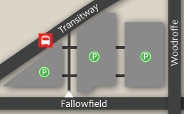 Fallowfield park and ride is located at Woodroffe and Fallowfield. Entrance is off of Fallowfield. ~ Le parc-o-bus Fallowfield est situé à l'angle de l'avenue Woodroffe et du chemin Fallowfield. Entrée à partir du chemin Fallowfield.