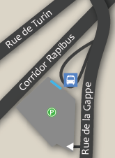 The STO de la Gappe park and ride lot is located on Rue de la Gappe near Rue de Turin and the Rapibus corridor. ~ Le parc-o-bus de la Gappe de la STO est situé sur le boulevard de la Gappe, près de la rue de Turin et du corridor du Rapibus.