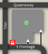The trim park and ride is located at Trim and the Queensway. The entrance is off of S Frontage. ~