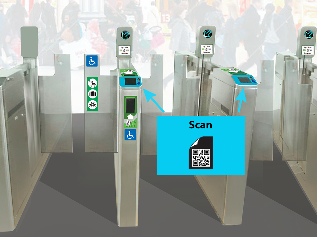 Location of barcode scanners at fare gates