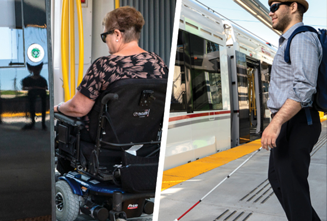 A woman in a wheelchair boarding the O-Train. Example of tactile wayfinding strips and platform edge markers.