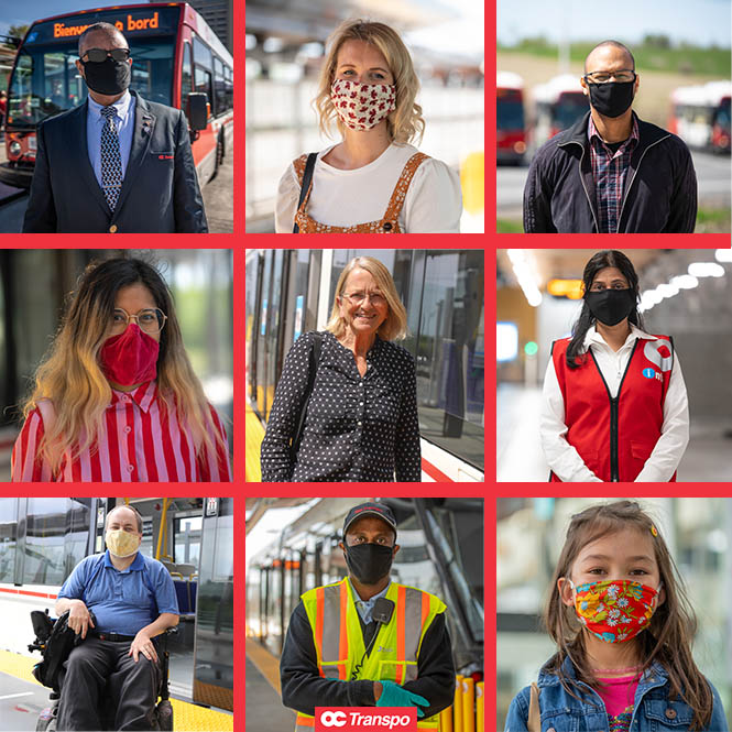 Photo grid of different customers and staff wearing masks.