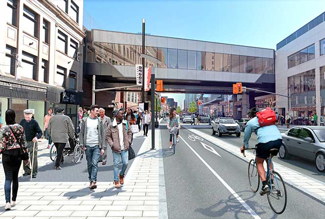 Artistic rendering of Rideau St. with wide sidewalks and a bicycle lane.