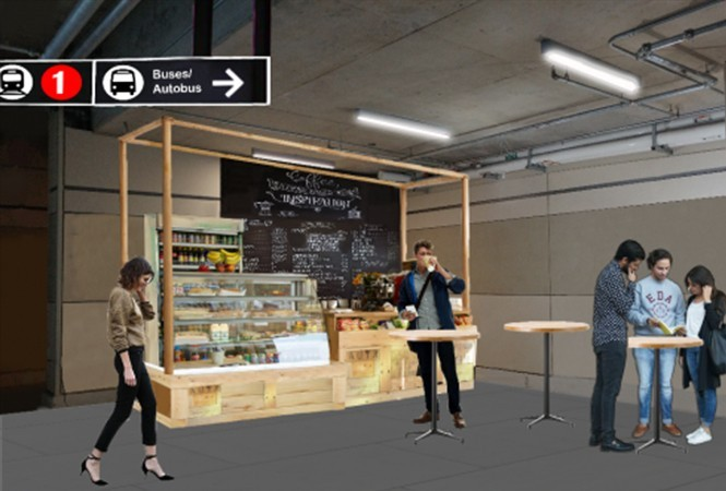 Rendering of a possible retail space at Blair Station