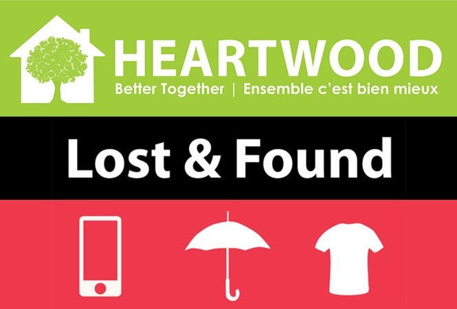 Heartwood House logo with image text Lost and found