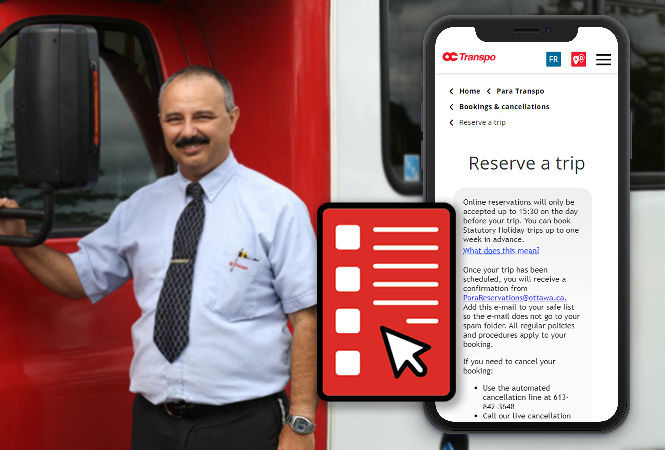 Para Transpo operator with form loaded on a mobile phone