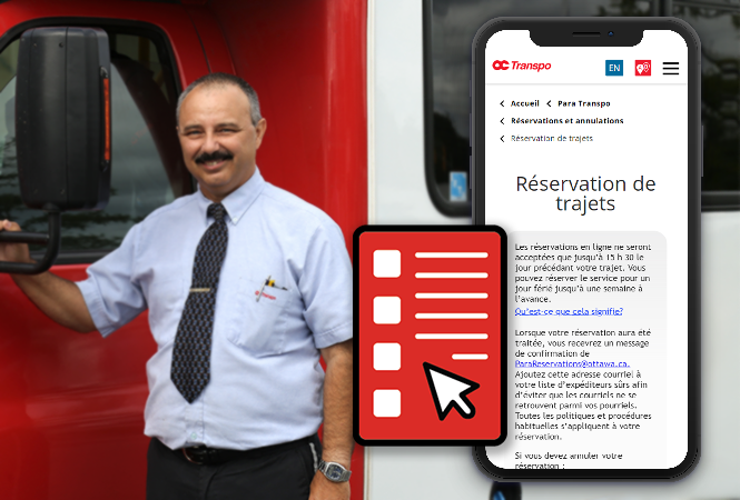 Un chauffeur de Para Transpo et un téléphone intelligent affichant le nouveau formulaire de réservations