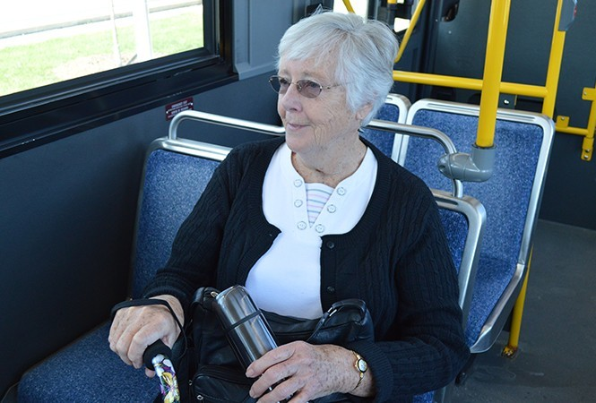Senior on a bus