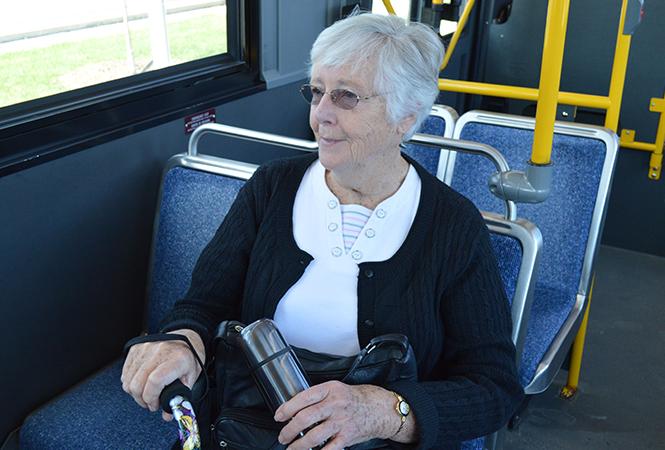 Senior on a bus