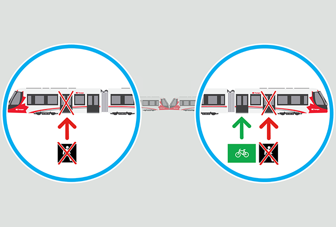 Train doors closest to the operator cab are closed. Customers with bicycles should use the next closest door.