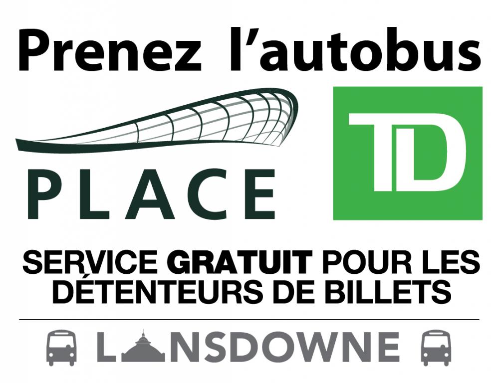 Annonce : Prenez l'autobus. Service gratuit pour les détenteurs de billets